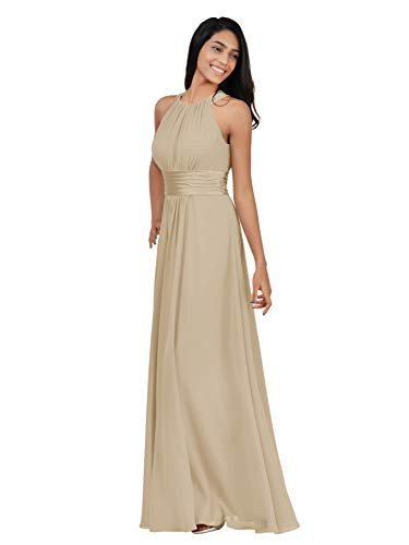 Alicepub Chiffon Bridesmaid Dresses Long for Women Formal Evening Party Prom Gown Halter, Champagne, US16