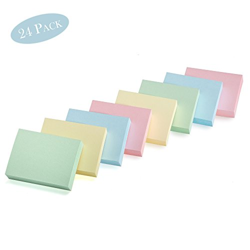 Sticky Notes, Mini Self-Stick Memo Notes - Self Adhesive - 1 ½ X 2 Inches - 100 Sheets Per Pad, 24 Pads Per Pack - Premium Quality - for Home, Office, School (Pastel)