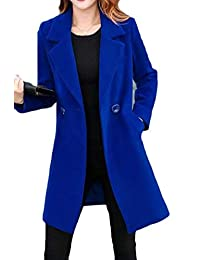 Nanquan Women Mid Long Solid Large Size Double-Breasted Blazer Pea Coat