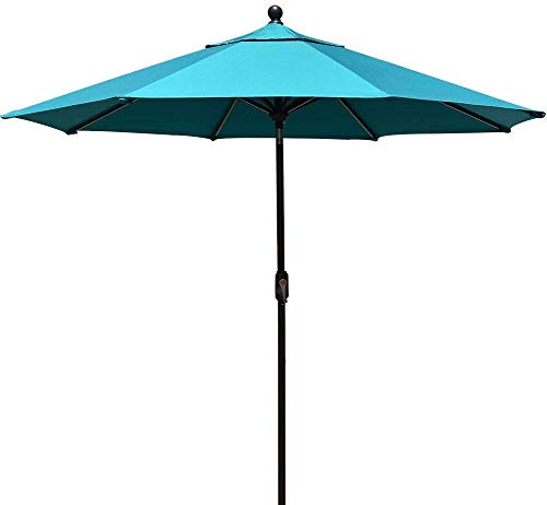 EliteShade FadeSafe 9ft Patio Umbrella Outdoor Table Market Umbrella with Push Button Tilt and Crank with Ventilation, Turquoise