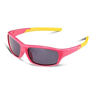 Duco Kids Sports Style Polarized Sunglasses Rubber Flexible Frame For Boys And Girls (Pink005 For Age 5-12, Grey)