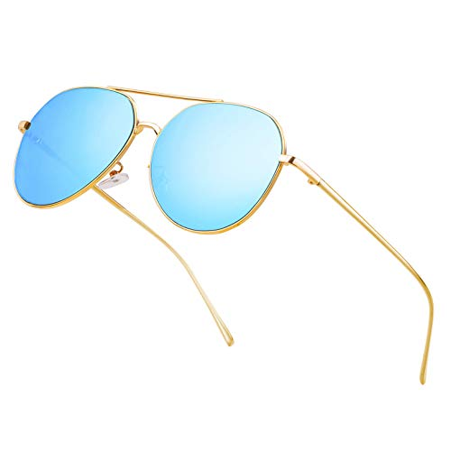 Classic Aviator Mirrored Flat Lens Sunglasses for Men and Women Big Metal Frame Durable Sun Glasses Driving Hiking Travelling Lightweight Oversized Shades UV400 Protection(Blue Lens/Gold Frame) ()