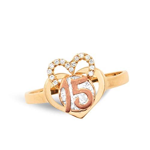 LoveBling 14k Two Tone 15 Anos Quinceanera Ring Heart Shaped with small half CZ Heart (6) (Two Tone Tiffany Ring)