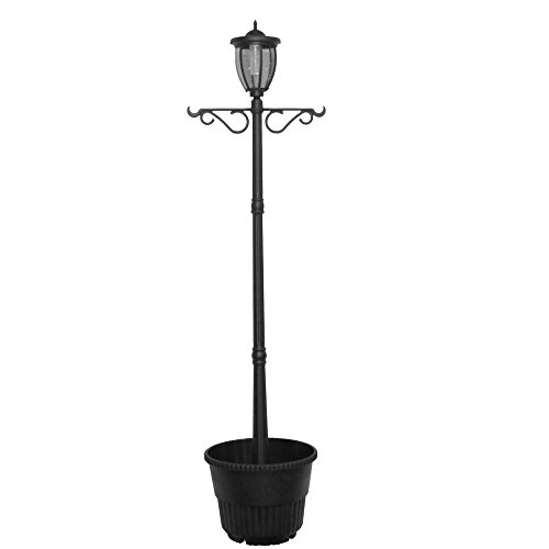 7' Tall Kenwick Solar Lamp Post and Planter with Plants Hanger, Amber and White LEDs, Brown, Outdoor Lighting ()