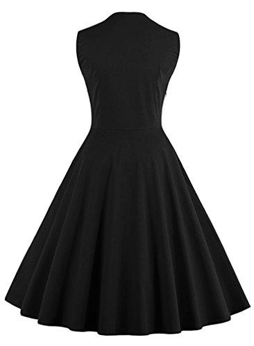Polka Dot Floral Dress Style Black Cocktail Party Killreal Vintage Swing Retro Women's 7PEzqFwx5