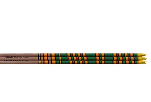 Rose City Archery Port Orford Cedar Fancy Crown Dipped, Crested and Nocked Shafts (6 Pack), 11/32
