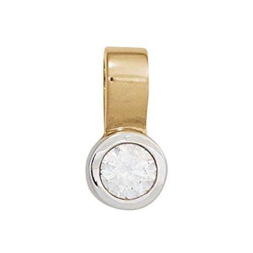 Pendentif brillant en diamant solitaire 0,20 ct. femme en or jaune 585