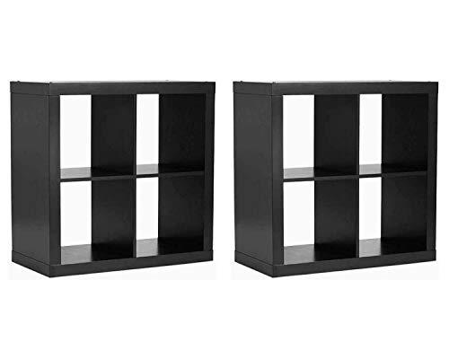 Better Homes and Gardens Bookshelf Square Storage Cabinet 4-Cube Organizer, (2 Set, 4-Cube Organizer, Solid Black) (Rattan Garden Set Cube)