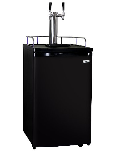 Kegco Kegerator Beer Keg Cooler - Double Faucet - D System - Black Door