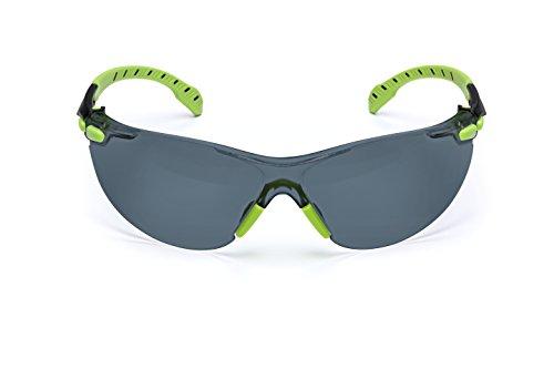 3M Safety Glasses, Solus 1000 Series, ANSI Z87, Scotchgard Anti-Fog, Grey Lens, Green/Black Frame
