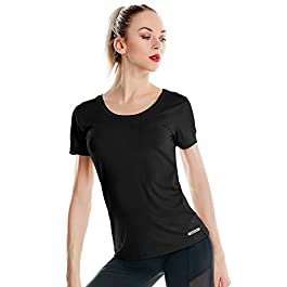 Women's Dri Fit U Neck Gym T Shirts Short Sleeve Tech Stretch Yoga Tops Running Shirts for Women