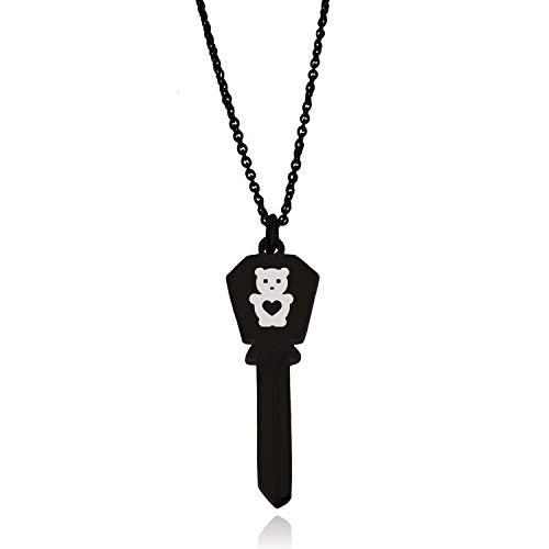 Black Stainless Steel Teddy Bear Love Hexagon Head Key Charm Pendant Necklace
