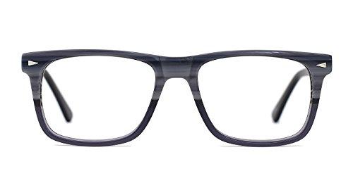 TIJN Men Flat Fashion Grey Marble Front Peacock Arm Eyeglasses