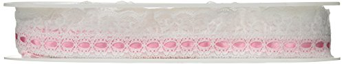 (Wrights 1-3/4-Inch Wide Ruffle Lace with Ribbon, 12-Yard, White/Pink)