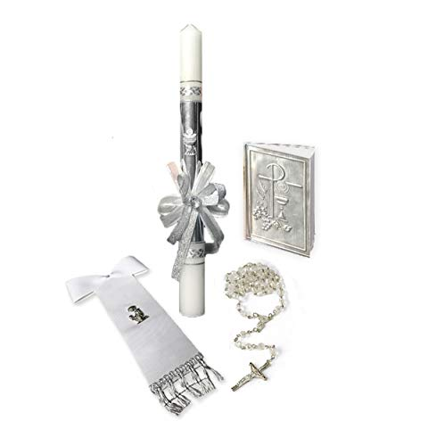 (FavorOnline First Communion Boy Gift Set Containing: Communion Candle, Rosary, Missal and Scarf )