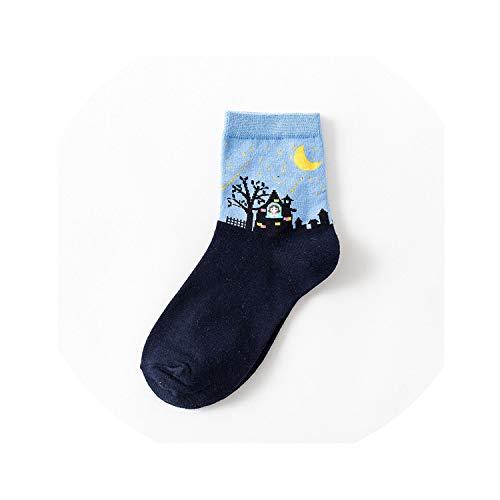 2018 Halloween Moon Tree Meteor Women's Casual Socks Sweet Cute Women Autumn Winter Cotton,Little princess 04