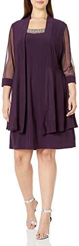 R&M Richards Womens 2 Piece Mesh Panel Beaded Neck Jacket Dress Plus D