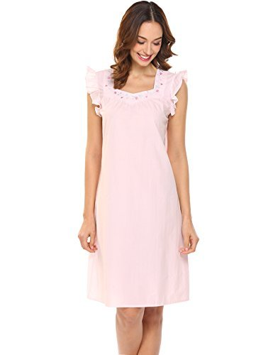 MAXMODA Women's Cotton Short Nightgown With Floral Embroidery & Ruffle Sleeve Pink (Sleeve Knee Length Nightgown)