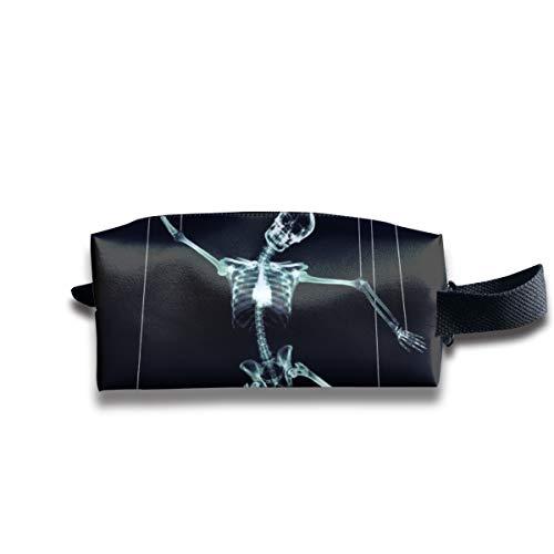 V5DGFJH.B Clash Durable Zipper Wallet Makeup Handbag with Wrist Band Puppet Skull Toiletry Bag -