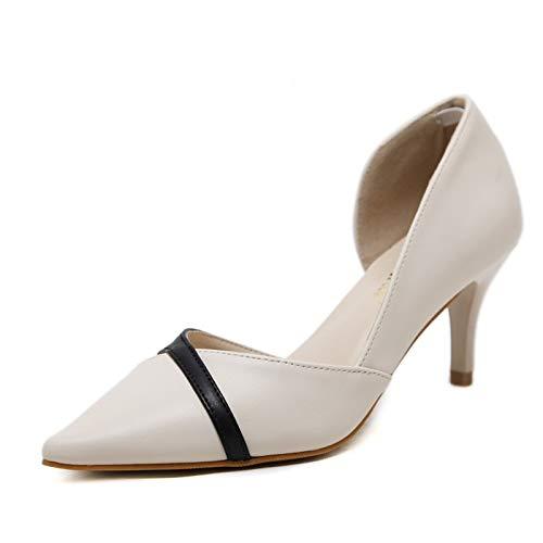 QOIQNLSN Zapatos De Mujer De Poliuretano (PU) Primavera Y Verano Tacones Stiletto Talón Negro/Beige Beige