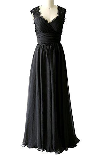 Bridesmaid Lace Vintage Schwarz Macloth Gown Evening V Neck Women Long Dress Formal