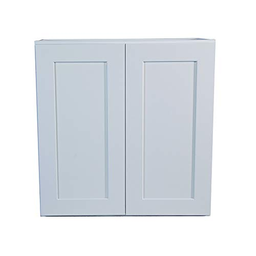 White Shaker Wall Cabinet with Self/Soft Close Hinges, All Solid Wood, RTA, Painted (36x42)
