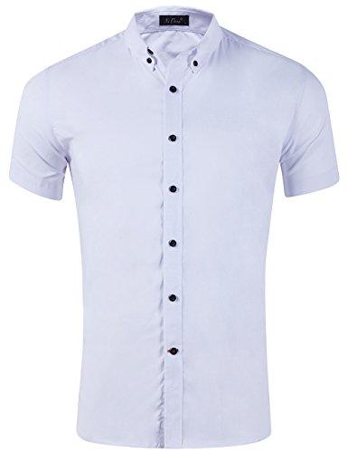 XI PENG Men's Summer Short Sleeve Solid Cotton Flex Stretch Fit Dress Shirts (White, XX-Large)