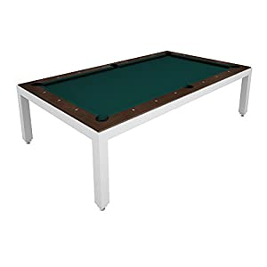 White Powder Coated Fusion Pool Table   Wood Top