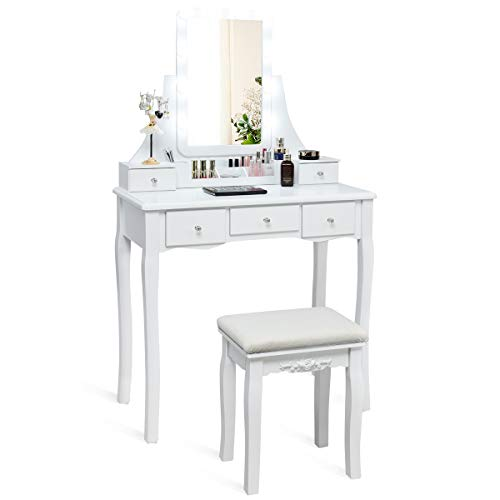 CHARMAID Vanity Set with Lighted Mirror, 10 Dimmable Light Bulbs Vanity Dressing Table, 5 Drawer with 2 Dividers Removable Organizer, Makeup Table and Cushioned Stool Set with 10 LED Bulbs (White) (Small Dressing Table Vanity)