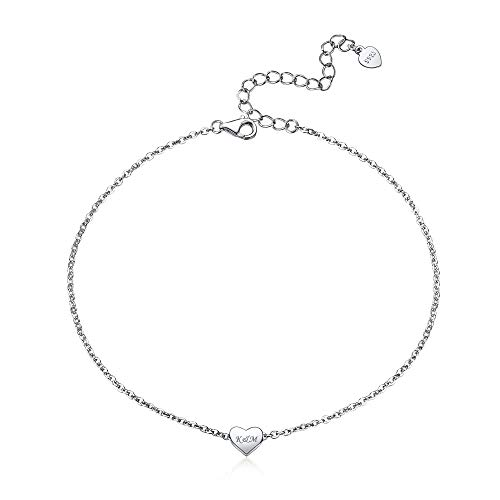 Personalized Womens Anklets 925 Sterling Silver Heart Love Customized Name Engraved Charm Anklet Bracelet Ankle Foot Chain