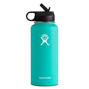 Hydro Flask Vacuum Insulated Stainless Steel Water Bottle Wide Mouth with Straw Lid (Mint, 32-Ounce)
