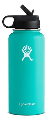 Hydro Flask Vacuum Insulated Stainless Steel Water Bottle Wide Mouth with Straw Lid (Mint, 32-Ounce) (Vacuum Bottle 600)