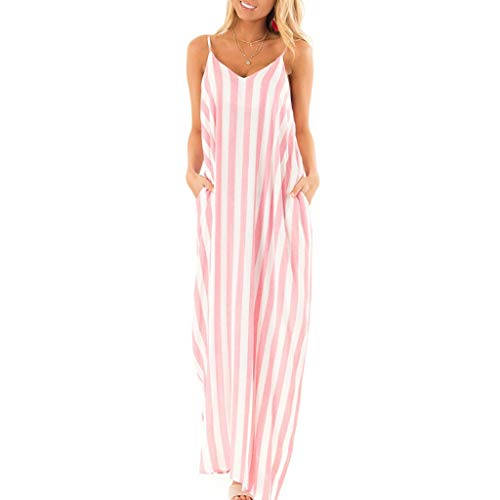 Women's Boho Dresses Strappy Striped Long Dress Summer Beach Maxi Sundress Casual Loose Skirts V-Neck Polyester Tops