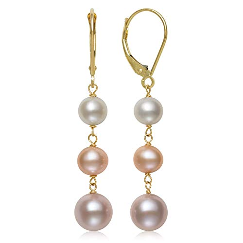 14k Yellow Gold Freshwater Cultured Pearl Drop Earrings for Women (Multi-Pink)