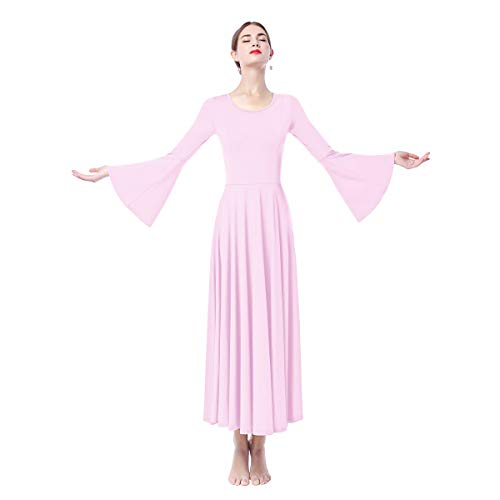 Women Adult Bell Long Sleeves Liturgical Praise Lyrical Dance Dress Solid Loose Fit Full Length Maxi Swing Gown Pleated Ruffle Tunic Circle Skirts Christian Worship Costume Praisewear Light Purple L (Pleated Detail Skirt)