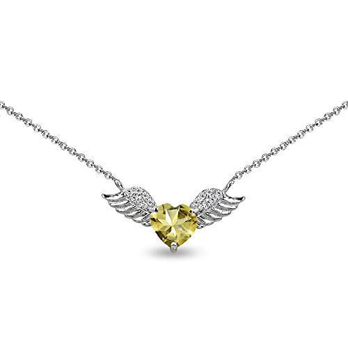 Sterling Silver Citrine & CZ Heart Angel Wings Necklace for Teens, 15' + Extender