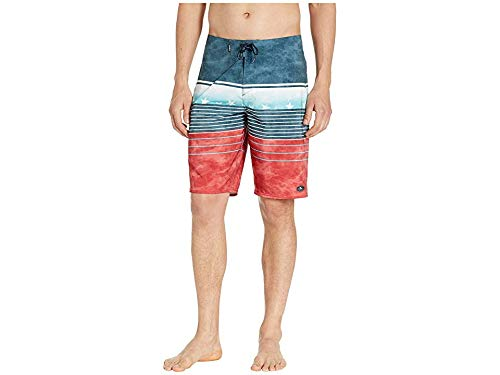 O'Neill Men's Hyperfreak Heist Boardshorts Red/White/Blue 34 ()