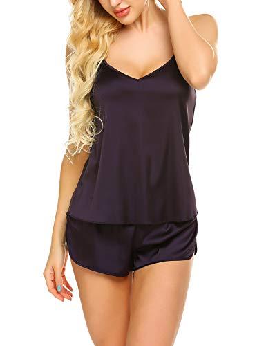 Ekouaer Sleepwear Womens Sexy Lingerie Satin Pajamas Cami Shorts Set Nightwear (Deep Purple, XX-Large)]()