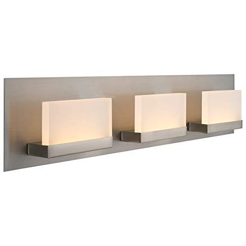 """Kira Home Everett 24"""" Modern 3-Light Integrated LED Bathroom/Vanity Light (19W), Rectangular Acrylic Lenses, Energy Efficient, Eco-Friendly, 3000k Warm White Light, Brushed Nickel Finish"""