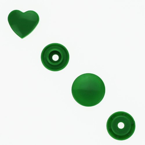 100 Glossy Kelly Green (B51) Heart Shaped KAM Plastic Resin Snaps Craft Baby Bib Cloth Diaper
