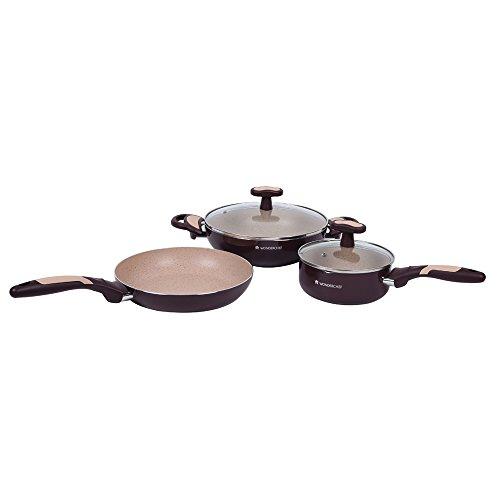 Wonderchef Burlington Aluminum Nonstick Cookware Set, 5 Piece Set, Maroon/Beige