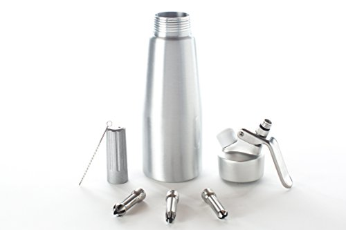 Ketzie Professional Aluminum Canister Whipped Cream Dispenser with Stainless Steel Piston - 3 Decorating Tips/Nozzles - 500 ml-1 Pint Whipper Requires 8 gram N2O Cartridges/Chargers (not incl.)