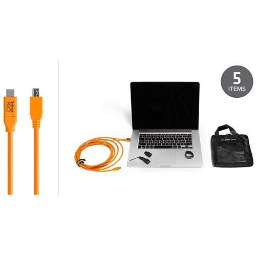 Tether Tools Starter Tethering Kit with 15' USB-C to 2.0 Mini-B 5-Pin Cable, Orange by Tether Tools