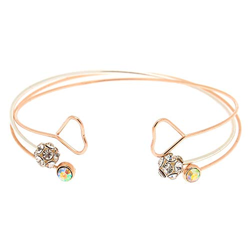 Claire's Girl's Mixed Metal Heart Stone Cuff Bracelets - 3 Pack