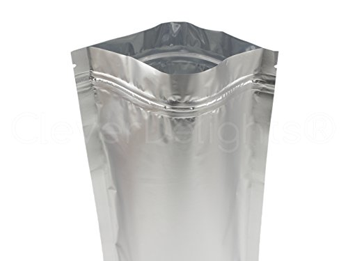 25 Pack - CleverDelights Silver Stand-Up Pouches - 6'' x 11'' x 3'' - 12oz - Resealable Ziplock Bag by CleverDelights (Image #2)