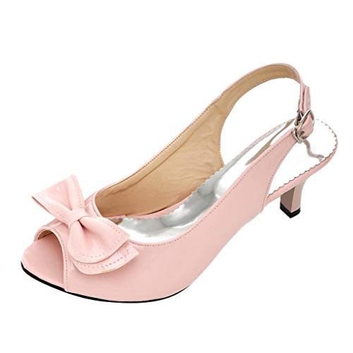 Duseedik Women's Sandals High Heels Belt Buckle Summer Ladies Outdoor Wedding Party Dance Shoes Pink