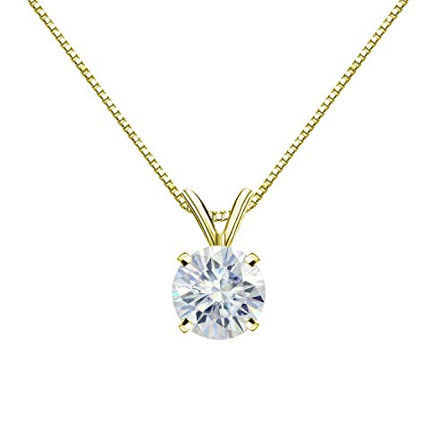 Diamond Wish 14K Yellow Gold Round Moissanite Solitaire Pendant 7mm 1.25 TGW in 4-Prong Basket (O.White) 18