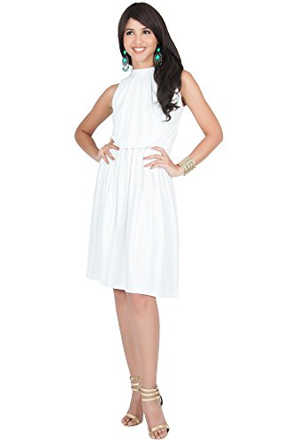 KOH KOH Petite Womens Sleeveless Bridesmaid Halter Neck Flowy Wedding Party Work Knee Length Day Formal Dressy Summer Casual Sexy Sundress Mini Midi Dress Dresses, Ivory White XS 2-4