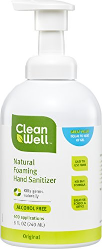 CleanWell Natural Foaming Hand Sanitizer - Original Scent, 8 Ounce (Pack of 3)
