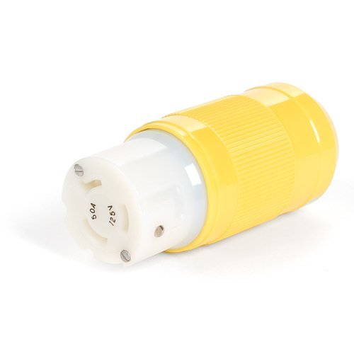 Woodhead CS8364N Safeway Connector, Industrial Duty, Locking Blade, 3 Phase, 3 Poles, 4 Wires, California Style Configuration, Nylon, Yellow, 50A Current, 250V Voltage